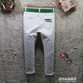 白色七分牛仔褲女夏季彈力破洞韓版顯瘦7分中褲緊身小腳鉛筆褲子 多莉絲旗艦店