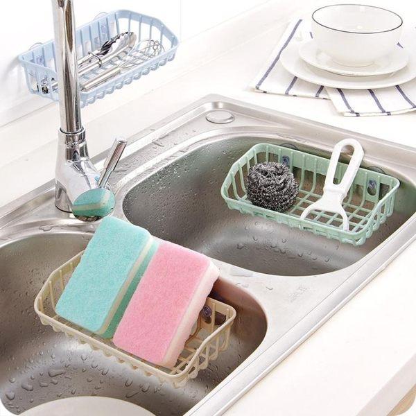 新款素色廚房水槽洗碗海綿雜物瀝水架多功能雙吸盤收納架置物架