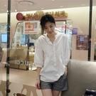 簡約時尚立領半襟五分袖襯衫上衣韓版【88-12-8303-1050-21】ibella 艾貝拉