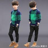 兒童裝男童毛衣秋裝新款休閒時尚中大童12針織打底衫韓版潮15   莫妮卡小屋