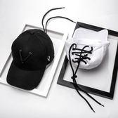 帽子女黑白色棒球帽男士潮流個性繫帶嘻哈帽潮牌鴨舌帽【免運+滿千折百】