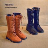 女童長筒靴英倫風新款兒童靴騎士靴公主高筒靴