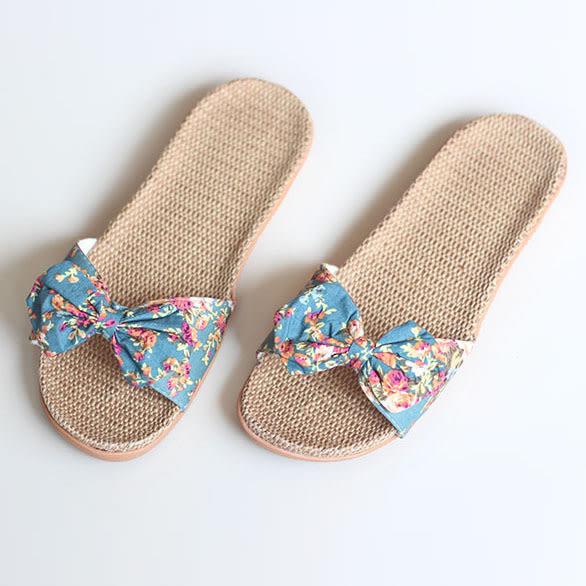 夏季女士亞麻拖鞋日式蝴蝶結碎花家居涼拖鞋洛麗的雜貨鋪