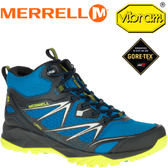 【MERRELL 美國 男款 高筒 CAPRA BOLT MID GORE-TEX 登山鞋〈亮藍/黃〉 】ML37409/休閒鞋/登山鞋★滿額送