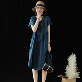銅氨絲連身裙 圓領短袖洋裝 系帶短袖長裙-夢想家0703