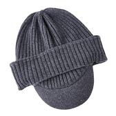 羊毛毛帽-護耳純色針織毛線男鴨舌帽4色73wj25[時尚巴黎]