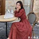 春秋新款長袖洋裝裙顯白韓版寬鬆顯瘦中長款打攬雪紡碎花連身裙女2020 『麗人雅苑』