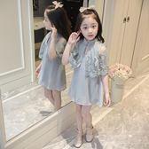 女童洋裝 夏季新款女童蕾絲披肩連衣裙中大童韓版兒童裙子LJ10072『夢幻家居』