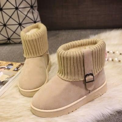 中筒雪靴-時尚氣質百搭圓頭女厚底靴子4色73kg49[巴黎精品]