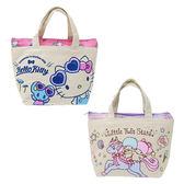 【KP】三麗鷗帆布滿版保冷袋  Hello Kitty 雙子星 雙層保溫袋 正版日本進口授權 DTT05223