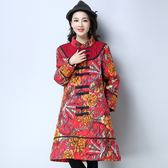 2018冬裝新款民族風大碼女裝棉麻外套中長款印花盤扣加厚棉衣棉服「爆米花」
