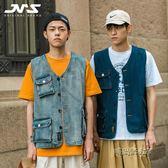 江南先生19春夏新 日系多口袋工裝牛仔馬甲背心潮男阿美咔嘰外套「時尚彩虹屋」