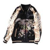 鳳凰刺繡棒球外套 橫須賀原宿寬松男女情侶兩面穿夾克