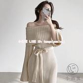 一字肩長袖連身裙洋裝 韓系氣質長裙法式茶歇設計感小眾針織長袖連衣裙女【小酒窩】