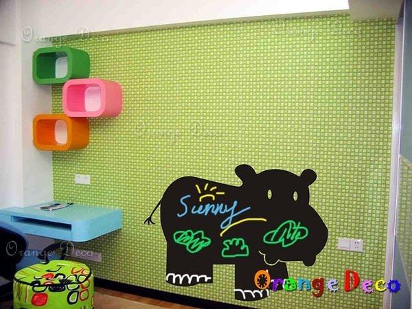 壁貼【橘果設計】河馬 創意塗鴉黑板貼 60x90cm 贈刮板 水平儀