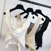 針織背心 新款性感夜店蕾絲鏤空露背交叉低胸針織背心E130