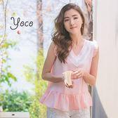 東京著衣【YOCO】輕柔蕾絲拼接荷葉V領上衣-S.M(6020165)