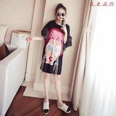 韓版短袖T恤大碼顯瘦打底衫女中長款寬鬆上衣
