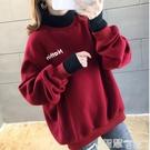 衛衣 抓絨加厚高領連帽衛衣女2021秋冬裝假兩件套韓版慵懶風外套上衣潮 智慧