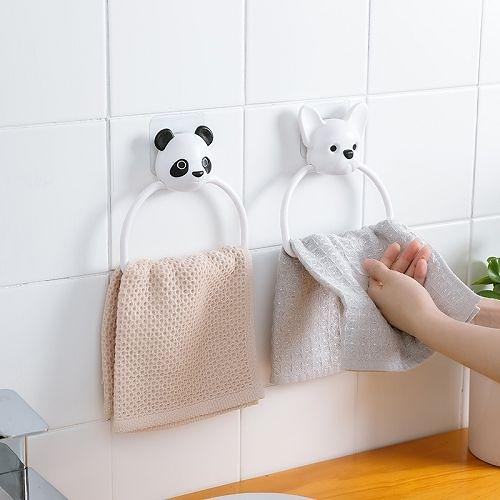 可愛卡通吸壁式毛巾掛環 免打孔浴室掛鉤 廁所廚房抹布毛巾架