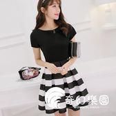 連身裙-夏新款韓版顯瘦裝修身大碼短袖時尚條紋裙子女連衣裙-奇幻樂園
