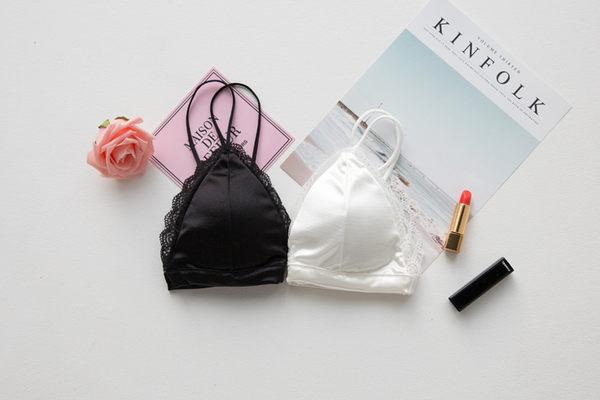 小可愛背心性感內衣 蕾絲滾邊緞面背心黑白色[AK0126]預購女裝上衣滿額送愛康衛生棉.朵曼堤洋行