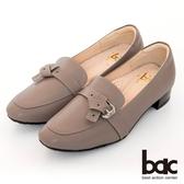 【bac】歐美簡約皮帶扣環粗跟樂福鞋(可可色)