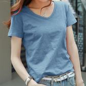 夏裝竹節棉t恤女半袖純色V領寬松短袖上衣純棉打底衫大碼女裝 GB3286『樂愛居家館』