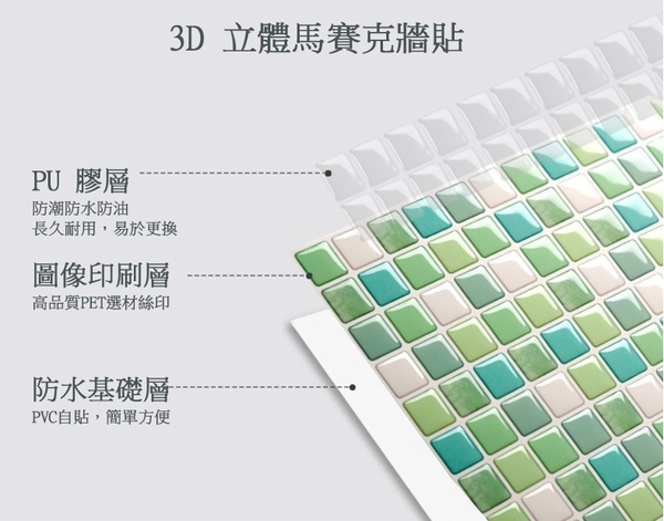 磁磚貼【橘果設計】多款韓版3D立體水晶馬賽克壁貼 牆貼 壁紙