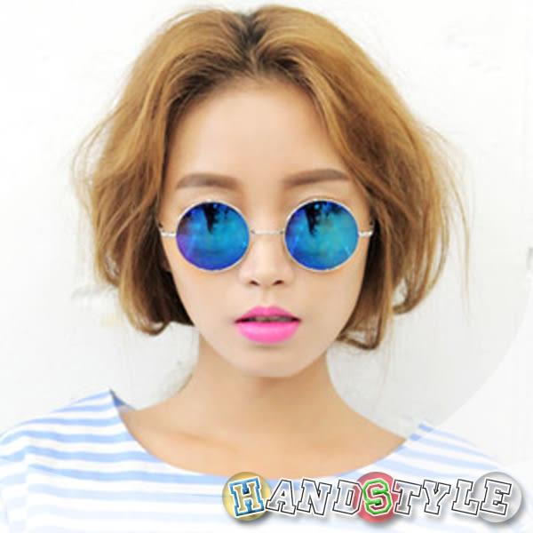 經典圓框反光彩膜造型眼鏡【035970】韓飾代【HandStyle】(附眼鏡盒)