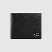 【雪曼國際精品】GUCCI 473916-CWC1N-1000 黑色壓紋牛皮 銀色GG LOGO 8卡短夾 ─全新品現貨