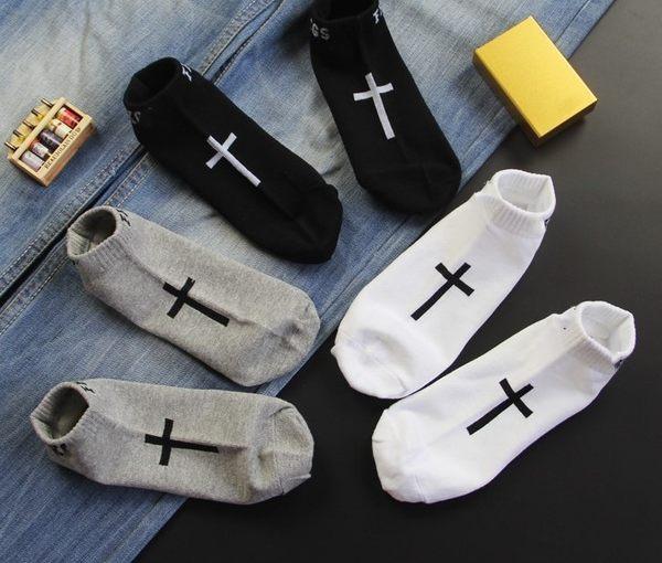 香港潮牌 原宿十字架短襪 休閒男女船襪均碼襪子隱形襪