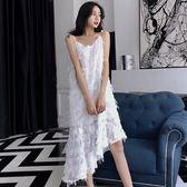 2018春夏季新款韓版性感V領吊帶打底裙中長款毛毛流蘇連身裙女裝