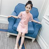 女童連衣裙夏裝洋氣兒童旗袍網紗公主裙女孩蕾絲紗裙 LQ5908『miss洛羽』
