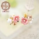 耳環 韓國直送立體花朵珍珠水鑽耳環-Ru...