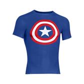 UA HG AlterEgo [1244399-402] 男 短袖 強力 伸縮 運動 訓練 動漫 美國隊長 上衣 藍