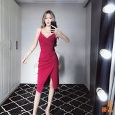 優一居 洋裝連身裙春夏裙子時尚小心機低胸顯瘦不規則開叉褶皺吊帶裙連身裙