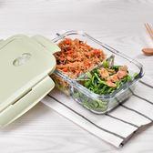 分隔玻璃飯盒1.1L 微波爐耐熱便當盒密封碗保鮮盒套裝  卡菲婭