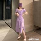 法式洋裝 夏季2020年新款法式方領側開叉紫色洋裝女夏氣質不規則A字裙子