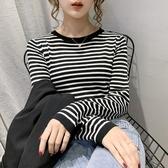 新品特價 秋季新款韓版修身百搭長袖拼色條紋針織衫女薄款打底上衣t恤