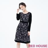 RED HOUSE-蕾赫斯-植絨點點花朵洋裝(黑色)