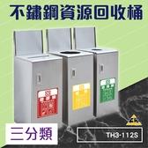 不鏽鋼三分類資源回收桶 TH3-112S (環保資源/回收桶/垃圾桶/紙簍/資源回收箱/分類桶)