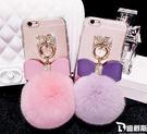 【SZ】iphone 6s plus 手機殼 亞克力彩色水鑽毛球系列 iphone 6 手機殼iPhone7/8 保護殼 iPhone5s\SE手機套