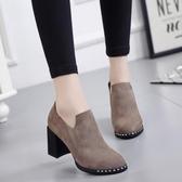 女靴子馬丁靴短靴粗跟高跟靴絨面低筒鞋女鞋單靴短靴 黛尼時尚精品