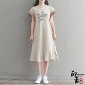 大尺碼洋裝實拍印花字母蝙蝠袖連身裙女純色荷葉邊裙潮 入秋首選