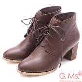 G.Ms. 牛皮優美楦頭綁帶粗跟短靴*咖啡