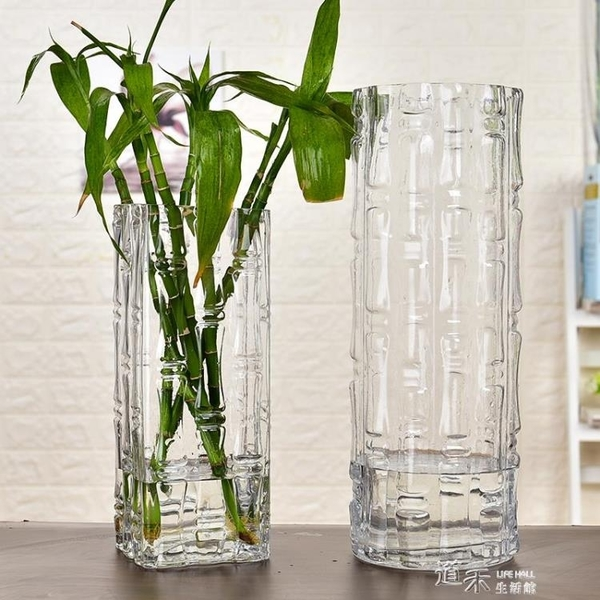 現代簡約富貴竹花瓶擺件轉運客廳玻璃插花透明特大號水培家用落地 新年禮物