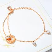 《 QBOX 》FASHION 飾品【B100N930】精緻氣質雙環圈羅馬數字鑲鑽玫瑰金鈦鋼手鍊/手環