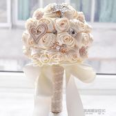 韓式新娘婚紗手捧花仿真手工布藝緞帶玫瑰花婚禮手拿拋花婚慶禮物  凱斯盾數位3c
