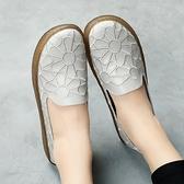 繡花女單鞋軟底平底鞋舒適媽媽鞋一腳蹬懶人鞋孕婦女鞋工作鞋『向日葵生活館』